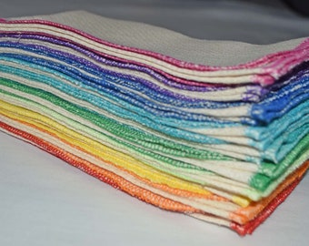10 pack Flannel GOTS Certified Organic Cotton Paperless Towels.....Your Choice of Edging Color