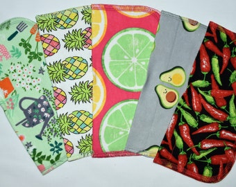1 Ply Printed Flannel, Farmers Market Set Napkins 8x8 inches 5 Pack - Little Wipes (R)