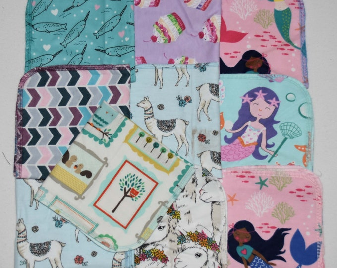 Seconds 1 Ply 14x14 Pack Of 10-----Printed Flannel GIRLS Sets