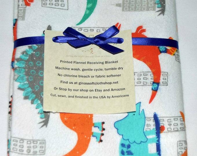 Cruisin Dinos Cotton Flannel Receiving Blanket 42x42 Inches