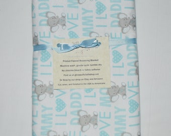 I Love Mommy and Daddy Lt.Blue Elephant Cotton Flannel Receiving Blanket 42x42 Inches