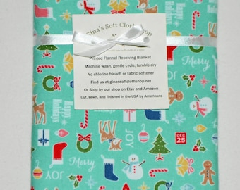 Happy Holidays-Cotton Flannel Receiving Blanket 42x42 Inches