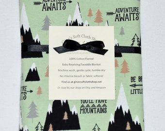 Mountain Adventure Cotton Flannel Receiving Blanket 42x42 Inches