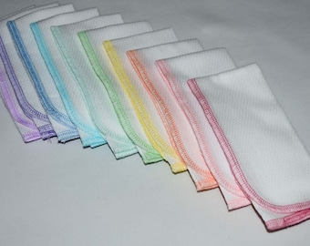 PaperLess Towels Set of 10 --  Spring Assortment in White Birdseye Fabric