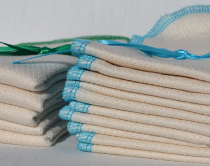 Double Thick 11x12  inch 2- Ply Unbleached Birsdseye Cotton Un-Paper Towels*****Your choice of color edging