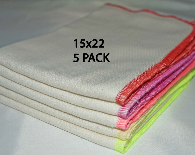 2 PLY, 15x22 PACK OF 5-Organic Cotton Birdseye Large Towels-Sewn with polyester thread....Your Choice of Edging Color