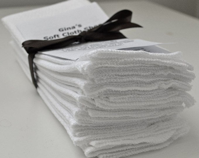 Paperless Towels Set of 10 in White Cotton Birdseye Fabric with Your Choice of Edging Color
