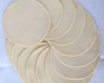 SECONDS.......Organic Cotton Facial Rounds, pack of 10 with free mesh wash bag - Makeup remover, washable and reusable