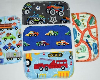1 Ply Printed Flannel Washable, Zoom Zoom Set Napkins 8x8 inches 5 Pack - Little Wipes (R) Flannel