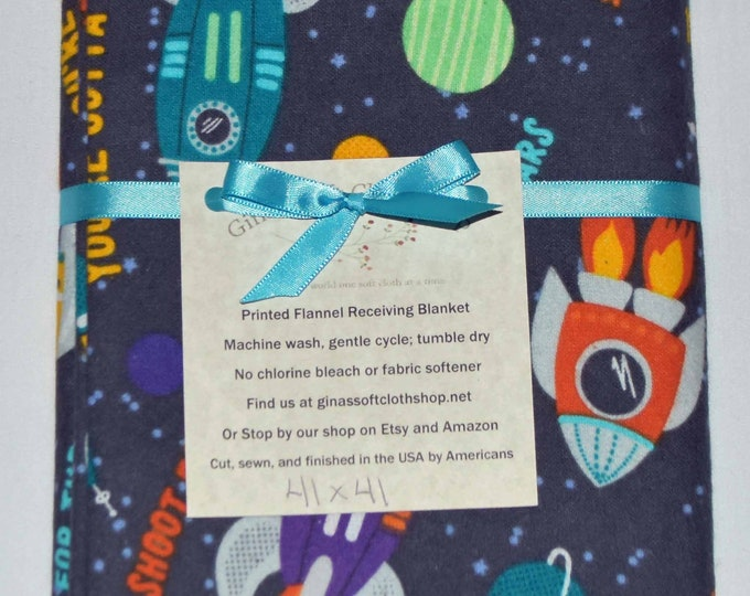 You're Out of this World Cotton Flannel Receiving Blanket 41x41 Inches