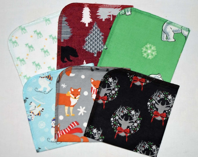 CLOSEOUT!!!!! Christmas Animal Variety Flannel Set 1 Ply... 12x12 Little Wipes 5 Pack