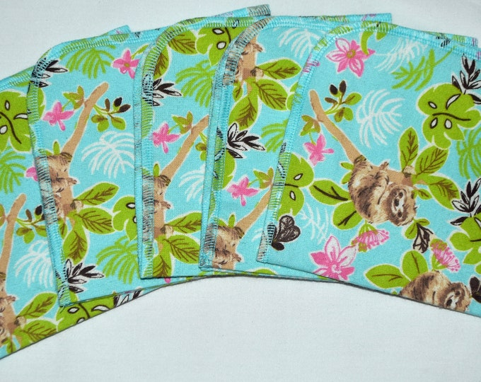 Sweet Sloths Flannel Set 1 Ply... 12x12 Little Wipes 5 Pack