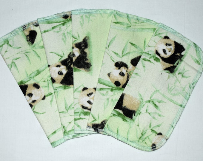 1 Ply Printed Flannel, Panda Set Napkins 8x8 inches 5 Pack - Little Wipes (R)