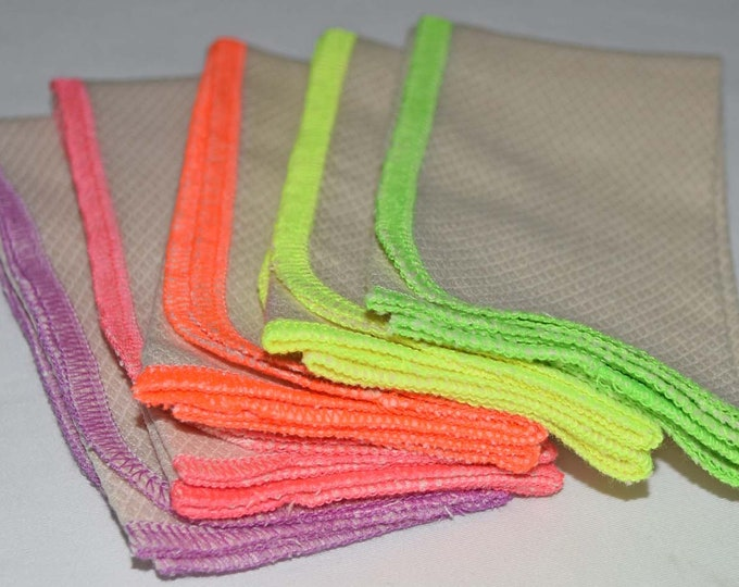 5 pack 2-Ply GOTS Certified Organic Cotton Birdseye Large Towels.....Your Choice of Edging Color