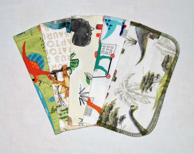 1 Ply Printed Flannel, Dinosaurs Set Napkins 8x8 inches 5 Pack - Little Wipes (R)