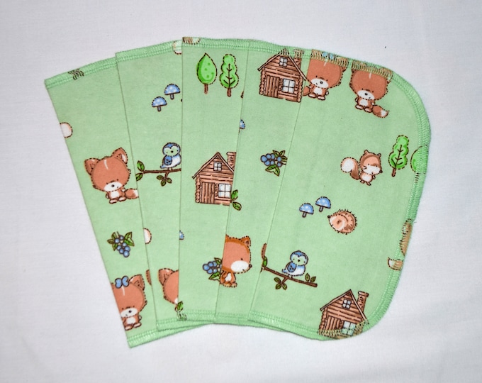 CLOSEOUT!!!!! Foxes and Friends Set Flannel 1 Ply... 8x8 Little Wipes 5 Pack