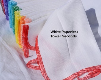 SECONDS.......1 Ply Paperless Towels set of 10 in WHITE Cotton Birdseye Fabric