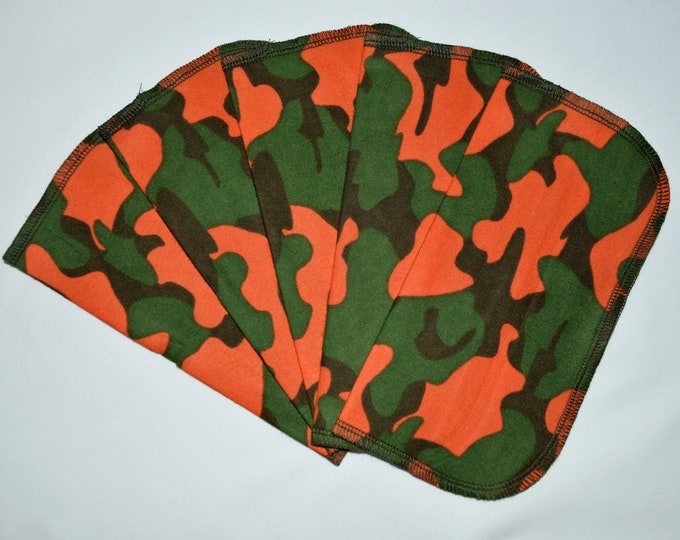 1 Ply Printed Flannel Washable Blaze Orange Camo Set Napkins 8x8 inches 5 Pack - Little Wipes (R) Flannel