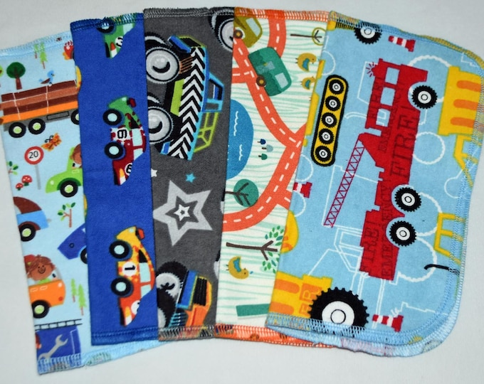 2 Ply Printed Flannel Washable, Zoom Zoom Set Napkins 8x8 inches 5 Pack - Little Wipes (R) Flannel