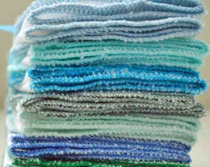 Big Stack of 30 Paperless Towels in White Birdseye Cotton with Your Choice of Colored Edging