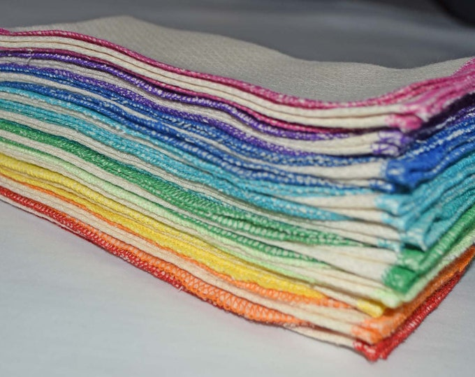 1 Ply Organic Cotton Paperless Towels - 14x14 inches Organic Birdseye Cotton - Your Choice of Edging Color and Quantity