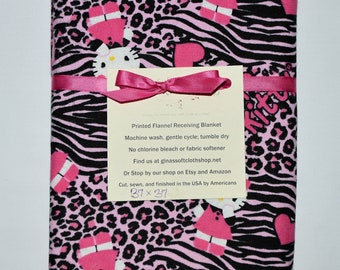 Hello Kitty-Cotton Flannel Receiving Blanket 42x42 Inches