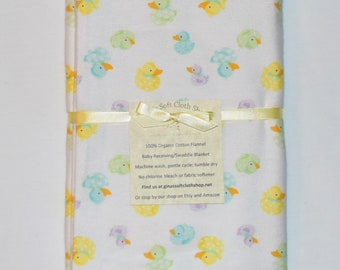 Rubber Ducky-Cotton Flannel Receiving Blanket 42x42 Inches