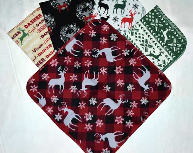 1 Ply Printed Flannel Washable Holiday Antlers Set Napkins 12x12 inches 5 Pack - Little Wipes (R) Flannel