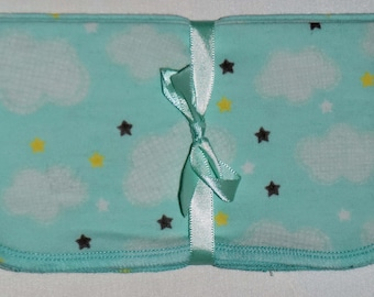 1 Ply Printed Flannel Washable Starry Clouds Napkins 8x8 inches 5 Pack - Little Wipes (R) Flannel