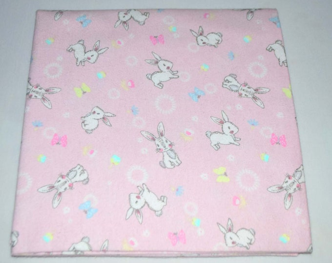 Cuddly Bunny-Cotton Flannel Receiving Blanket 42x42 Inches