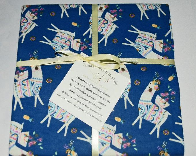 Fiesta Llama-Cotton Flannel Receiving Blanket 42x42 Inches
