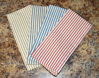 Dish Towels-11x24 or 17x30---------100% Striped Cotton Ticking- your choice of color-Set of 2