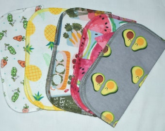 2 Ply Printed Flannel, Farmers Market Set Napkins 8x8 inches 5 Pack - Little Wipes (R)