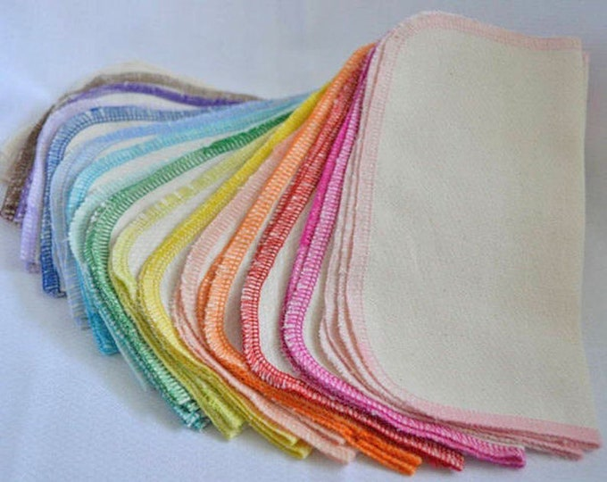 1 Ply Baby Wipes - 40 pack GOTS Certified Organic Cotton Little Wipes 8x8 inches.....Your Choice of Edging Color