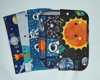 1 Ply Printed Flannel Washable Out Of This World Set Napkins 8x8 inches 5 Pack - Little Wipes (R) Flannel