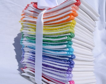 Extra Big Stack of 50 -- 1 Ply Paperless Towels Rainbow Assortment White Cotton Birdseye Fabric