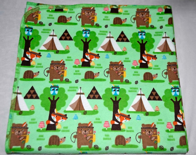 Indian Summer Fun Cotton Flannel Receiving Blanket 42x42 Inches