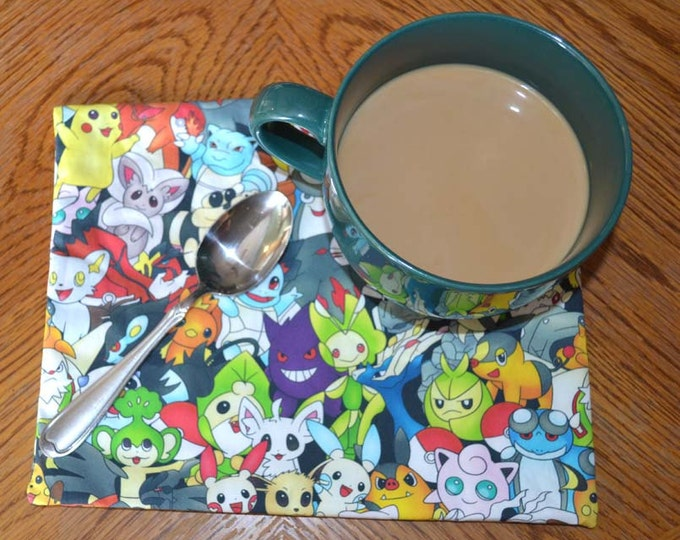 Mug Rugs 7x10 Inches 100% Cotton with cotton batting in the middle, Pokemon  Characters