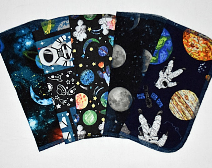 2 Ply Printed Flannel Washable Out Of This World Set Napkins 8x8 inches 5 Pack - Little Wipes (R) Flannel