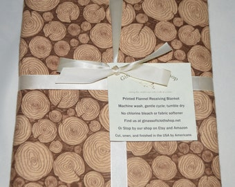 Stacked Logs-Cotton Flannel Receiving Blanket 42x42 Inches