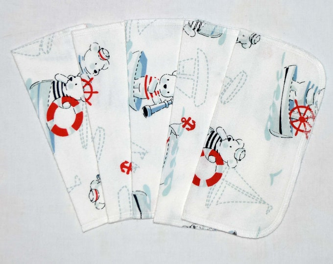 Boating Bears 1 Ply Printed Flannel Washable Set Napkins 8x8 inches 5 Pack - Little Wipes (R) Flannel