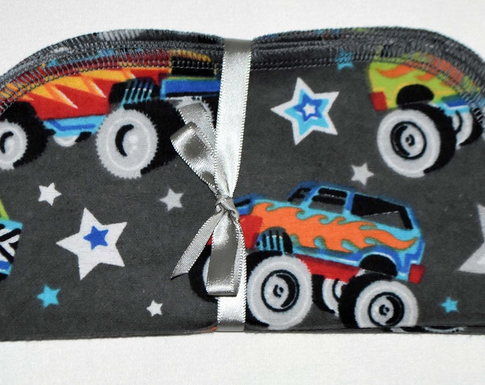 1 Ply Printed Flannel Washable Monster Truck Napkins 8x8 inches 5 Pack - Little Wipes (R) Flannel