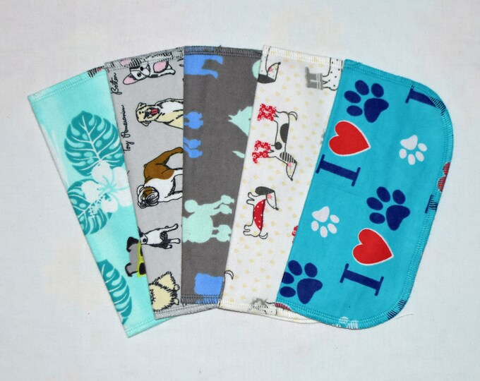 Puppy Prints 2 Ply Printed Flannel Washable Set Napkins 8x8 inches 5 Pack - Little Wipes (R) Flannel