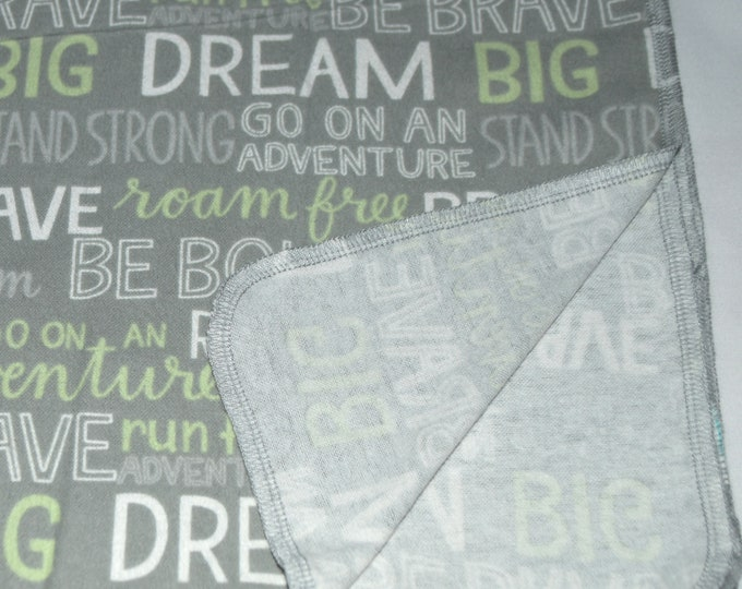 Dream Big, Be Bold, Be Brave- Cotton Flannel Receiving Blanket 42x42 Inches