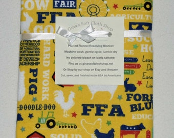 FFA Cotton Flannel Receiving Blanket 42x42 Inches