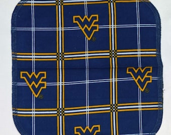 1 Ply Printed Flannel Washable West Virginia Napkins 8x8 inches 5 Pack - Little Wipes (R) Flannel