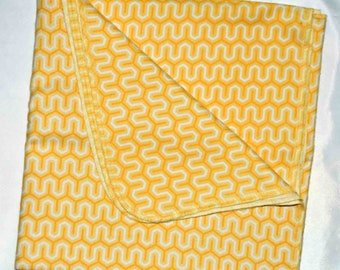 Yellow Zig Zags-Cotton Flannel Receiving Blanket 42x42 Inches