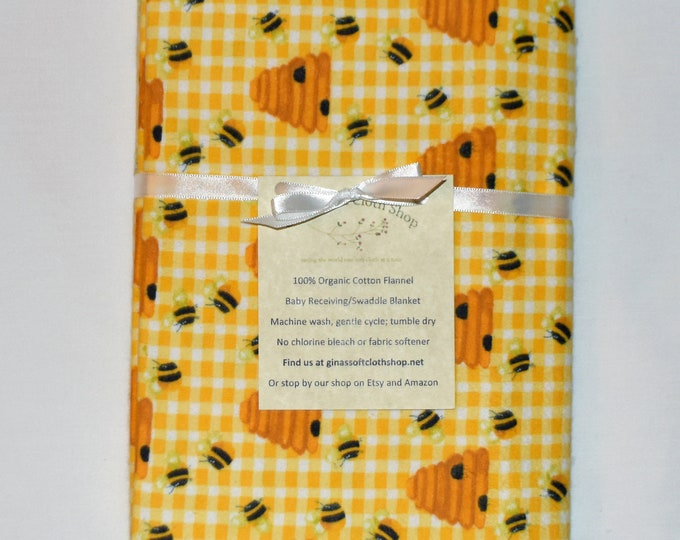 Honey Bees-Cotton Flannel Receiving Blanket 42x42 Inches