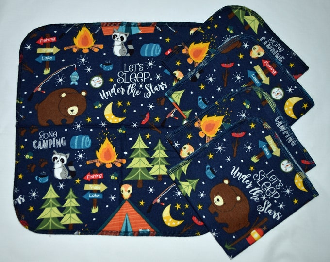 1 Ply Printed Cotton Flannel 12x12 Inches Little Wipes Set of 5 Under The Stars