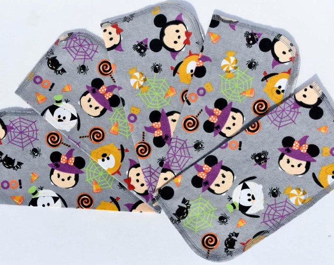 Seconds Printed Halloween Mickey and Friends Sets Flannel 1 Ply... 9x9 10 Pack